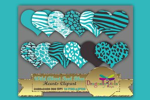 WILD About Teal Blue Hearts Clip Art