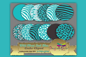 WILD About Teal Blue Circles Clipart