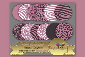 WILD About Pink Circles Clipart