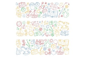 Kindergarten with toys. Pattern for