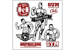 Set of bodybuilding emblems with