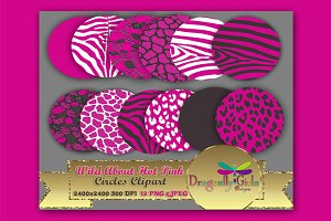 WILD About Hot Pink Circles Clipart