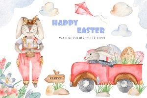 Happy Easter. Watercolor collection.