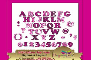 WILD About Hot Pink Alphabet Clipart