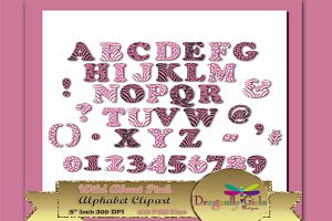 WILD About Pink Alphabet Clipart