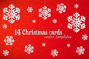 Set of 14 vector Christmas cards