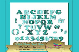 WILD About TealBlue Alphabet Clipart