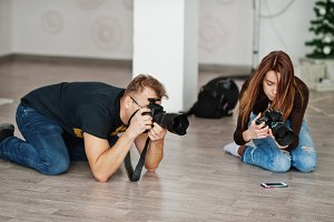 The team of two photographers shooti