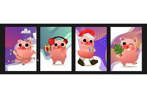 Happy Chinese New Year of pig set