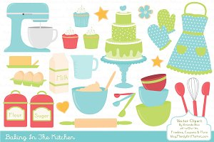 Bright Baking Kitchen Vector Clipart