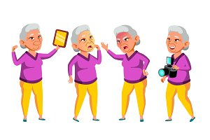 Asian Old Woman Poses Set Vector