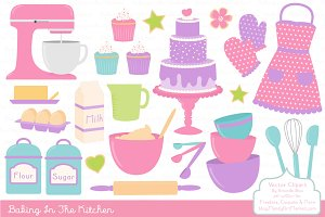 Girls Baking Clipart & Vectors