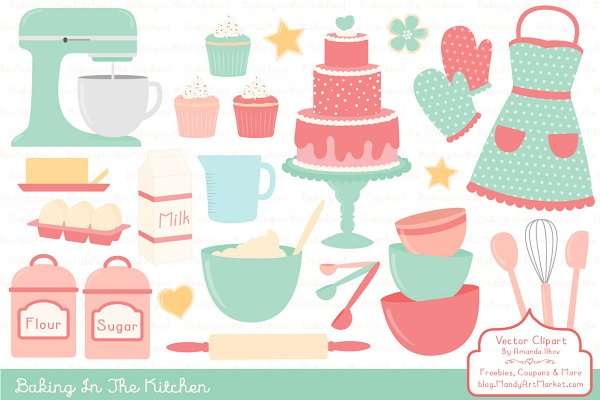 Mint & Coral Baking Clipart