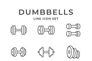 Set line icons of dumbbells