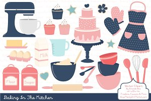 Navy & Pink Baking Clipart