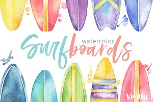 Surfing Watercolor Surfboards