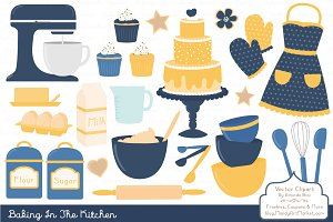 Navy & Yellow Baking Vectors