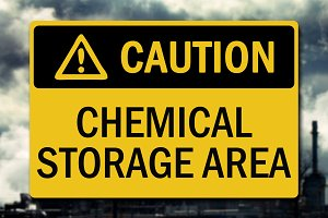 Caution Chemical Storage Sign Decal