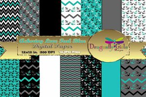 Anchoring Love Teal Blue Paper Pack