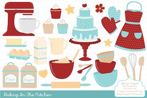 Retro Baking Clipart & Vectors