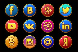 Vector icons. Social media buttons