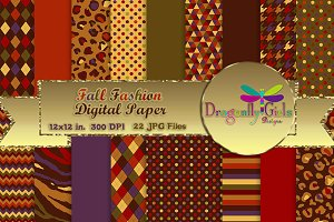 Fall Fashion Digital Paper,