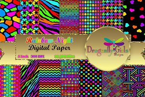 Rainbow Night Digital Paper Pack