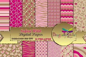 Safari Wild Digital Paper Pack