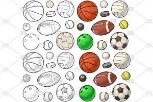 Set sport balls icons. Engraving