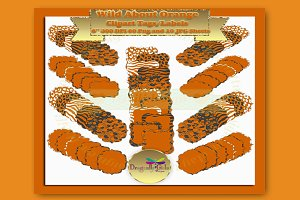 WILD About Orange Label Clipart