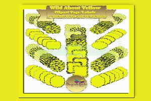 WILD About Yellow Label Clipart