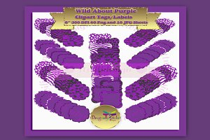 WILD About Purple Label Clipart