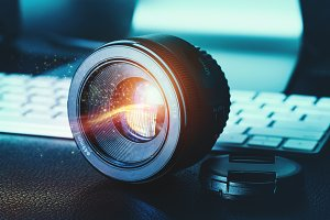 Camera lens on a desk
