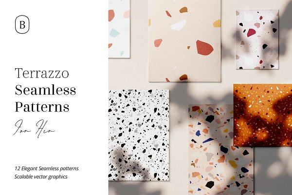 Graphic Patterns: William Hansen - 12 Terrazzo Seamless Patterns