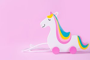 Minimalistic concept - toy unicorn