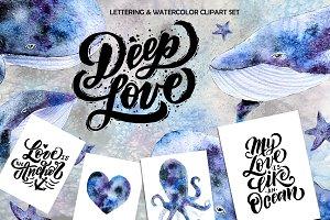 Deep love Lettering & Watercolor