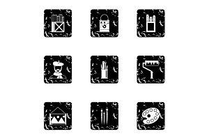 Paint drawing icons set, grunge