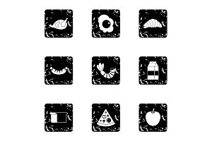 Breakfast icons set, grunge style