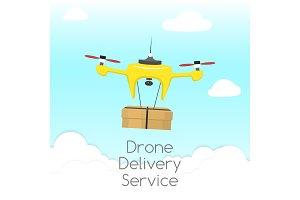 Dron delivery service vector
