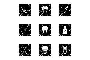 Stomatology icons set, grunge style