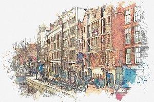 Watercolor sketch. Amsterdam.