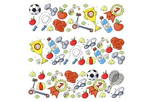 Vector pattern with sport elements