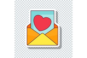 Envelope with heart sticker