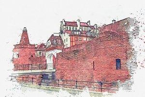 Watercolor sketch. Historic Warsaw