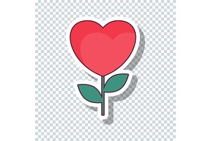Heart flower sticker