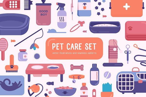 Illustrations: Good_Studio - Pet care set and seamless
