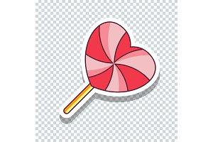 Vector flat love lollypop sticker