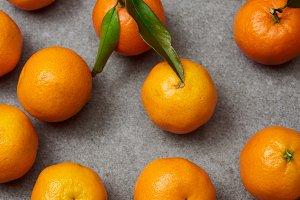 sweet organic tangerines with green