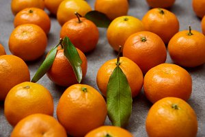 selective focus of orange tangerines