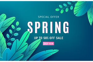 Spring sale background banner with